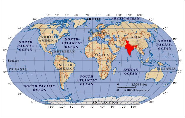 Arabian Sea World Map This map shows the location of